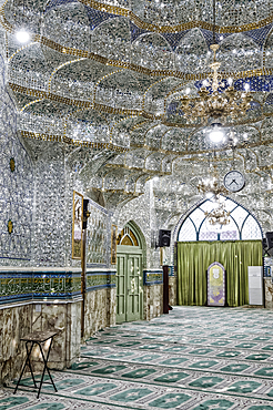 Emamzadeh Zeyd Mausoleum, entrance hall decorated with mirrors, Tehran, Islamic Republic of Iran, Middle East