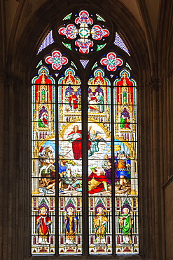 Stained-glass window, Cologne Cathedral, UNESCO World Heritage Site, Cologne, North Rhine Westphalia, Germany, Europe