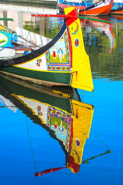 Gondola-like moliceiros boats anchored along the Central Channel, Aveiro, Beira, Portugal, Europe