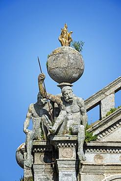 Detail of Os Meninos da Graca statues supporting the terrestrial globe, Igreja da Graca (Church of our Lady of Grace), Evora, UNESCO World Heritage Site, Alentejo, Portugal, Europe