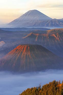 Sunrise over the smoking Gunung Bromo volcano, Bromo-Tengger-Semeru National Park, Java, Indonesia, Southeast Asia, Asia