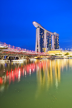 Marina Bay Sands Hotel and the Double Helix Bridge at night, Singapore, Southeast Asia, Asia