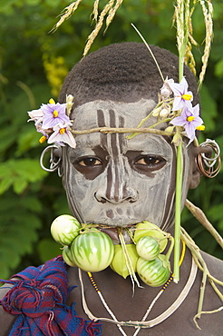 Surma child with body paintings, Tulgit, Omo River Valley, Ethiopia, Africa