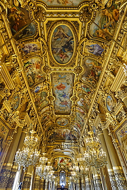 Le Grand Foyer with frescoes and ornate ceiling by Paul Baudry, Opera Garnier, Paris, France, Europe