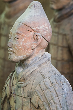 Bust of a Terracotta Warrior, Mausoleum of the first Qin Emperor, Xian, Shaanxi Province, China, Asia