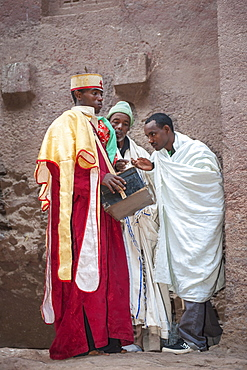 Priest holding relics from the Bete Medhane Alem Church, Lalibela, Amhara region, Northern Ethiopia, Africa