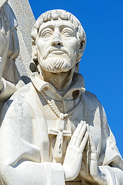 Detail of the statues, Padrao dos Descobrimentos (Monument to the Discoveries), Belem, Lisbon, Portugal, Europe