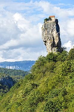 Katskhi Pillar, natural limestone monolith known as the Pillar of Life, Katskhi, Imereti Region, Georgia, Central Asia, Asia