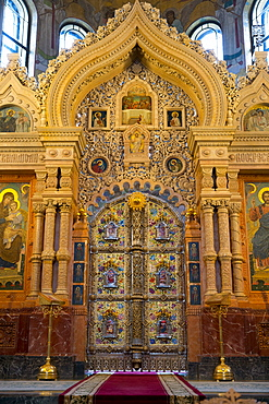 Doorway within The Church on the Spilled Blood, UNESCO World Heritage Site, St. Petersburg, Russia, Europe