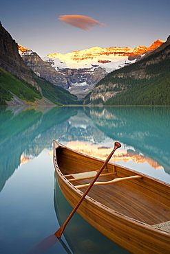 Canoe on Lake Louise at Sunrise, Lake Louise, Banff National Park, Alberta, Canada