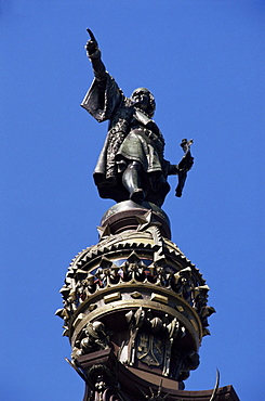 Statue of Christopher Columbus, Barcelona, Catalonia, Spain, Europe