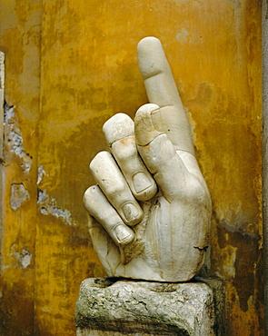 Hand from colossus statue, Emperor Constantine, Rome, Lazio, Italy, Europe