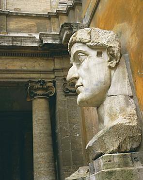 Head from colossus statue, Emperor Constantine, Rome, Lazio, Italy, Europe