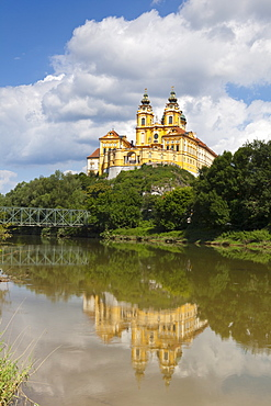 Melk Abbey reflected in the Danube, Wachau, Lower Austria, Austria