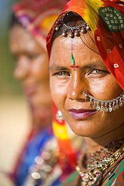 Portrait of a young woman in traditional dress, Jaisalmer, Rajasthan, India, Asia
