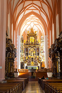 Interior of the Imperial Abbey of Mondsee, Mondsee, Mondsee Lake, Oberosterreich (Upper Austria), Austria, Europe