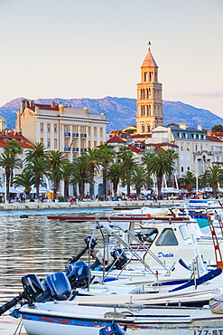 St. Domnius Cathedral Bell Tower and picturesque harbour, Stari Grad (Old Town), Split, Central Dalmatia, Croatia, Europe - 1158-473