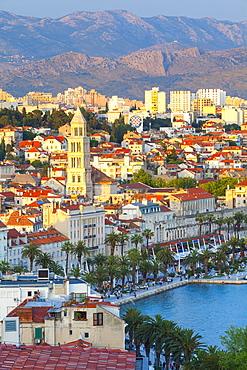 Elevated view over Split's picturesque Stari Grad and harbour illuminated at sunset, Split, Dalmatia, Croatia, Europe - 1158-475