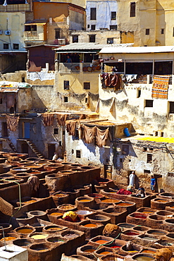 The Tanneries, Medina (old town), Fes, Morocco, North Africa, Africa