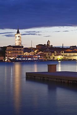 Old town of Rab at dusk, Rab town, Rab Island, Kvarner region, Dalmatia, Adriatic Sea, Croatia, Europe