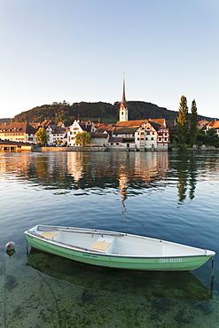 View over the Rhine River to the old town and St. Georgen monastery, Stein am Rhein, Canton Schaffhausen, Switzerland, Europe