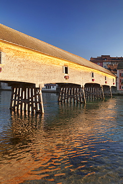 Historic wooden bridge over the Rhine River, Diessenhofen, Canton Schaffhausen, Switzerland, Europe