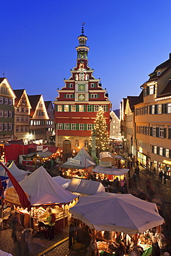 Christmas fair at the marketplace in front of the old town hall, Esslingen, Baden Wurttemberg, Germany, Europe