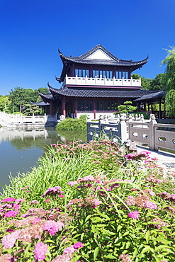 Tea house, Chinese Garden, Luisenpark municipal park, Mannheim, Baden Wurttemberg, Germany, Europe