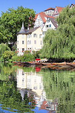 Old town with Holderlinturm tower reflected in the Neckar River, Tubingen, Baden Wurttemberg, Germany, Europe