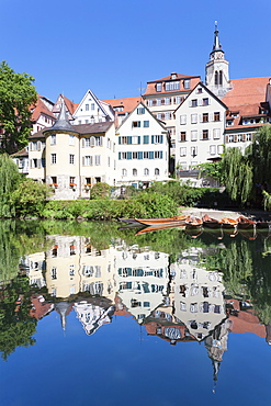 Old town with Holderlinturm tower and Stiftskirche Church reflecting in the Neckar River, Tubingen, Baden Wurttemberg, Germany, Europe
