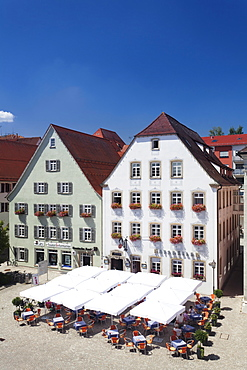 Old town with street cafe on the market place, Rottenburg am Neckar, near Tubingen, Baden Wurttemberg, Germany, Europe