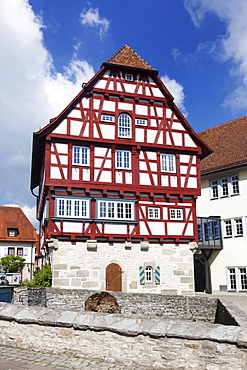Half timbered house, town hall, old town, Vellberg, Hohenlohe Region, Baden Wurttemberg, Germany, Europe