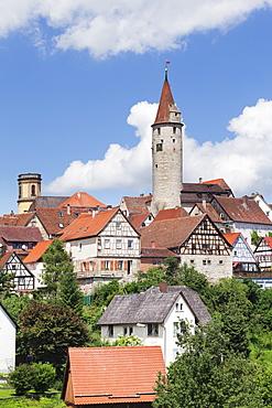 Stadtturm Tower, Half Timbered Houses, Kirchberg an der Jagst, Hohenlohe Region, Baden Wurttemberg, Germany