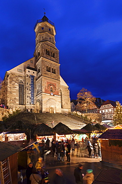 Christmas fair, St. Michael Church, market place, Schwaebisch Hall, Hohenlohe, Baden Wurttemberg, Germany, Europe