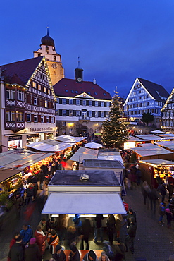 Christmas Fair in the Market Place with Stiftskirche Church, Herrenberg, Boblingen District, Baden Wurttemberg, Germany, Europe