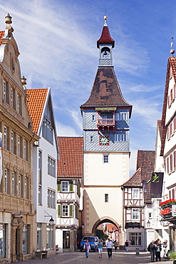 Marktstrasse Street with Schwaikhaimer Torturm Tower, Winnenden, Rems-Murr District, Baden Wurttemberg, Germany, Europe