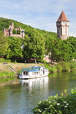 Spitzer Turm Tower, Tauber River, old town of Wertheim, Main Tauber District, Baden Wurttemberg, Germany, Europe