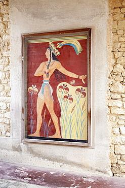 Fresco in Palace of Knossos, Iraklion (Heraklion) (Iraklio), Crete, Greek Islands, Greece, Europe