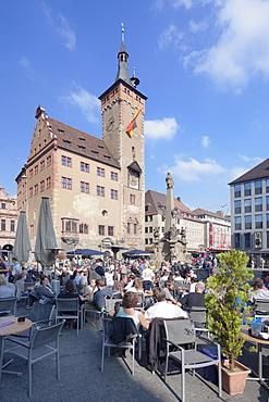 Town Hall, Grafeneckart Tower, street cafe, Vierroehrenbrunnen fountain, Wurzburg, Franconia, Bavaria, Germany, Europe