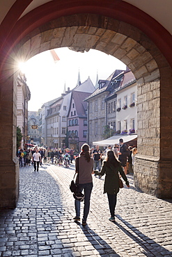 View from Old Town Hall to Karolinenstrasse Street, UNESCO World Heritage Site, Bamberg, Franconia, Bavaria, Germany, Europe