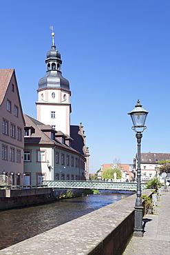 River Alb and Town Hall, Ettlingen, Baden-Wurttemberg, Germany, Europe