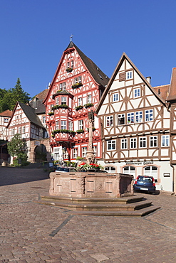Market Square with half-timbered houses, old town of Miltenberg, Franconia, Bavaria, Germany, Europe