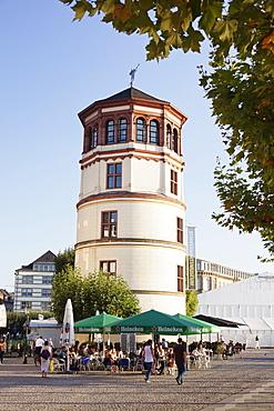 Schlossturm tower at the Rhine promenade, Dusseldorf, North Rhine-Westphalia, Germany, Europe