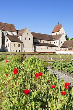Herb garden, St. Maria und Markus Cathedral, Mittelzell, UNESCO World Heritage Site, Reichenau Island, Lake Constance, Baden-Wurttemberg, Germany, Europe