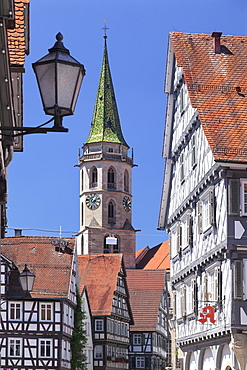 Half-timbered houses at market place, municipal church, Schorndorf, Baden Wurttemberg, Germany, Europe