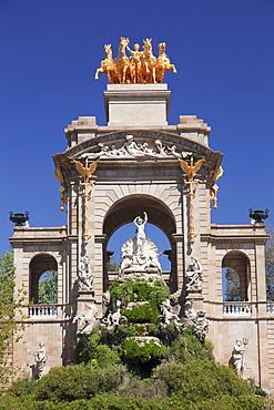 Quadriga de l'Auroa, La Cascada, architect Josep Fontsere, Parc de la Ciutadella, Barcelona, Catalonia, Spain, Europe