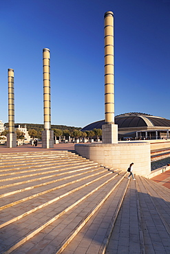 Palau Sant Jordi hall, architect Arata Isozaki, Olympic Stadium complex, Placa d'Europa, Montjuic, Barcelona, Catalonia, Spain, Europe