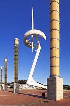 Torre Calatrava, TV Tower by Santiago Calatrava, Olympic Stadium's complex, Placa d'Europa, Montjuic, Barcelona, Catalonia, Spain, Europe