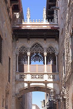 Pont del Bispe, bridge over Carrer del Bispe street, Palau de la Generalitat, Barri Gotic, Barcelona, Catalonia, Spain, Europe