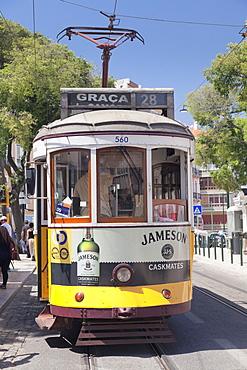Tram 28, Alfama district, Lisbon, Portugal, Europe